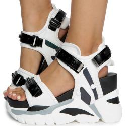 Oval-03 Platform Sandals White