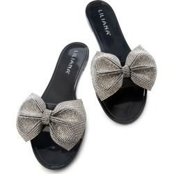 Jelli-67 Rhinestone Bow Sandals Black