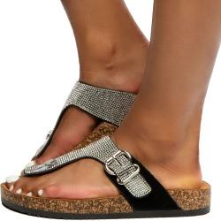 Berk-04 Rhinestone Sandals Black