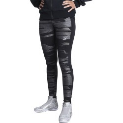 Black Metallic Women's Printed Leggings
