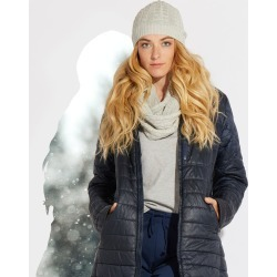 Women's Winter Grey Heather Cable Knit Hat & Scarf Set