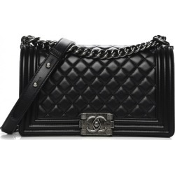 Chanel Boy Flap Quilted Lambskin Ruthenium Medium Black found on Bargain Bro India from StockX Holdings LLC for $4999.00
