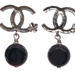 Chanel Classic CC Clover Dangle Earrings Black/Silver found on Bargain Bro India from StockX Holdings LLC for $430.00