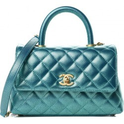 Chanel Coco Handle Flap Quilted Metallic Caviar Gold-tone Mini Turquoise found on Bargain Bro India from StockX Holdings LLC for $5250.00