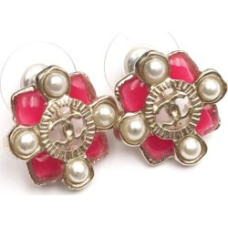 Chanel Faux Pearl Earrings Red Enamel Gold found on Bargain Bro India from StockX Holdings LLC for $450.00