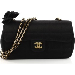 Chanel Chocolate Bar Flap Camellia Quilted Mini Black found on Bargain Bro India from StockX Holdings LLC for $1495.00