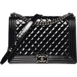 Chanel Boy Flap Quilted Patent Leather Silver/Black-tone Large Black found on Bargain Bro India from StockX Holdings LLC for $5500.00
