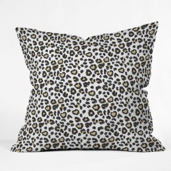 Dash and Ash Leopard Heart Square Throw Pillow Black/White - Deny Designs