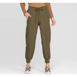 Women's Mid-Rise Full Length Cuffed Lounge Pants - Prologue Paris Green S, Size: Small