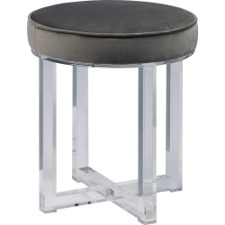 Round Upholstered Acrylic Leg Ottoman In Luxor Flannel - Grey - Pulaski, Gray found on Bargain Bro India from target for $124.99