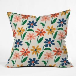 Zoe Wodarz Floral Square Throw Pillow Green/Blue - Deny Designs, Green Blue