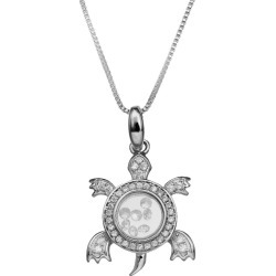 Cubic Zirconia Turtle Floating Locket in Sterling Silver (18)