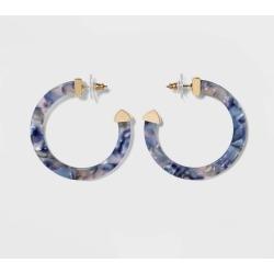 SUGARFIX by BaubleBar Classic Resin Hoop Earrings - Blue, Women's