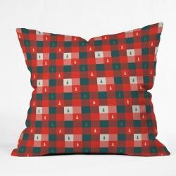 Zoe Wodarz Mini Tree Plaid Throw Pillow -Deny Designs, Green Red