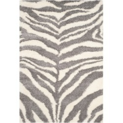 Ivory/Gray Zebra Stripe Loomed Area Rug 6'7