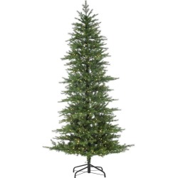 7.5ft Sterling Tree Company Pre-Lit Natural Cut Nottingham Pine Tree with Warm White LED Lights Artificial Christmas Tree, Green