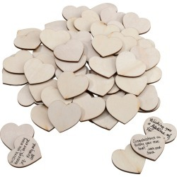 48ct Natural Wood Signing Hearts, Brown