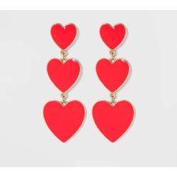 SUGARFIX by Baublebar Graduating Heart Drop Earrings - Red, Women's