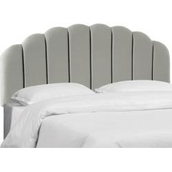 California King Shell Headboard Silver Faux Silk - Skyline Furniture