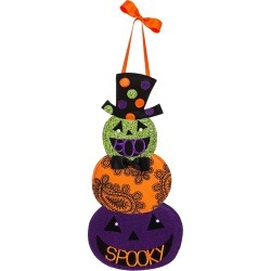 Halloween Jack-O-Lantern Felt Door Decor, Multi-Colored