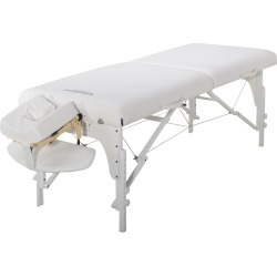 Master Massage 31 Extra Wide Montclair Pro Memory Foam Portable Massage Table Package with Reiki - Snow White