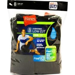 Men's Hanes 8pk Low Cut Socks With FreshIQTM - Black, Size: Small