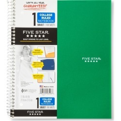 Five Star 1 Subject College Ruled Spiral Notebook - Green