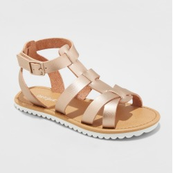 Girls' Mya Gladiator Sandals - Cat & Jack Rose Gold 4 found on Bargain Bro India from target for $19.99