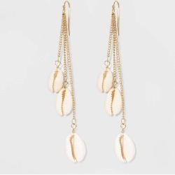 Linear Cowrie Shell Fishhook Drop Earrings - Wild Fable Gold, Women's found on Bargain Bro India from target for $6.00