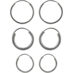 Sterling Silver Trio Endless Hoop Earring Set - Silver, Women's, Size: Small found on Bargain Bro India from target for $14.99