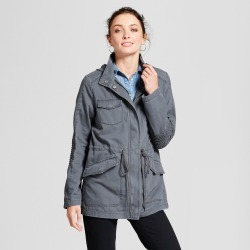 Women's Twill Anorak Hooded Jacket - A New Day Gray L