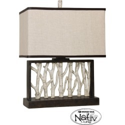 Livingston Rustic Birch Tree Table Lamp in Black and White with Beige Hardback Fabric Shade (Lamp Only) - StyleCraft