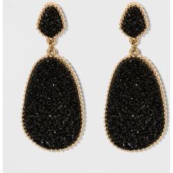 SUGARFIX by BaubleBar Dramatic Druzy Drop Earrings - Black, Women's