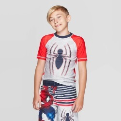 Boys' Spider-Man Rash Guard - RED S, Boy's, Size: Small found on Bargain Bro Philippines from target for $14.99