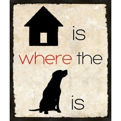 Home Is Where The Dog Is Wall Art, Black