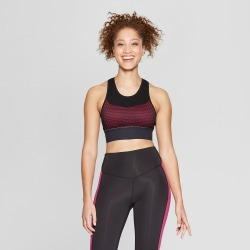 Women's High Neck Medium Support Sports Bra - C9 Champion Black/Magenta Zeal XS found on MODAPINS from target for USD $22.99