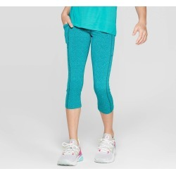 Girls' Premium Performance Capri Leggings with Pockets - C9 Champion Turquoise Blue XL, Girl's found on Bargain Bro India from target for $19.99