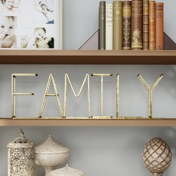 """Family"" Metal Cutout Free Standing Table Top Sign Gold - Lavish Home"