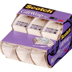 "Scotch Gift Wrap Tape .75"" x 300"" 3ct, Clear"