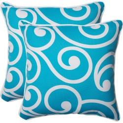 Pillow Perfect Best Outdoor 2-Piece Square Throw Pillow Set - Blue, White Blue found on Bargain Bro India from target for $28.99
