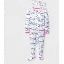 Baby Girls' 2pk Ruffle Pajama Set - Cloud Island White Newborn