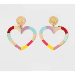 SUGARFIX by BaubleBar Enamel Heart Drop Earrings - Rainbow, Women's