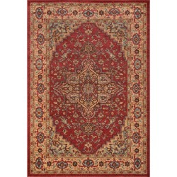 """3'11""""X5'7"""" Medallion Accent Rug Red"""