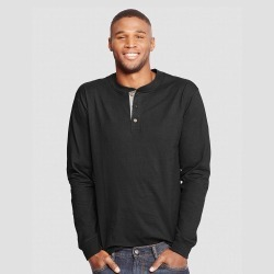 Hanes Men's Long Sleeve Beefy Henley Shirt - Black 2XL found on Bargain Bro Philippines from target for $9.99
