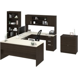 Ridgeley U-Shaped Desk with Lateral File and Bookcase Dark Brown/White - Bestar