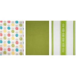 Set of 3 Kitchen Towel Print/Stripe/Solid Green - Mu Kitchen, Multi-Colored