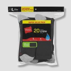 Hanes Men's Crew Super Value Socks 20pk - Black/Gray 6-12 found on Bargain Bro Philippines from target for $18.99