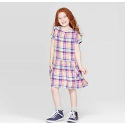 Girls' Plaid Woven Dress - Cat & Jack XS, Multicolored