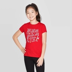 petiteGirls' Short Sleeve Laughing All The Way Graphic T-Shirt - Cat & Jack Red XL, Girl's