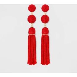 SUGARFIX by BaubleBar Monochrome Tassel Drop Earrings - Red, Women's